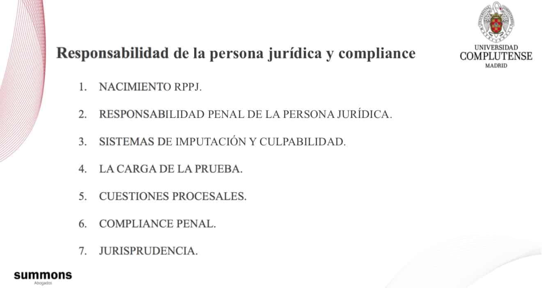 Ponencias sobre la responsabilidad de la persona jurídica y compliance en la Universidad Complutense